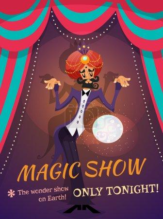 Illustration pour Affiche de cirque avec sphère magicienne et magie montrer l'illustration vectorielle de texte - image libre de droit