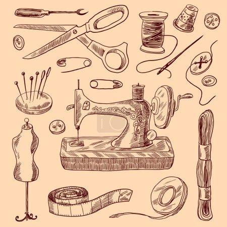 Illustration pour Coudre des icônes décoratives ensemble de croquis avec aiguille bouton ciseaux illustration vectorielle isolée - image libre de droit