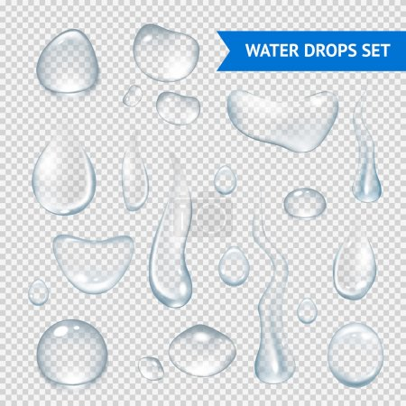 Illustration for Pure clear water drops realistic set isolated vector illustration - Royalty Free Image