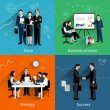 Teamwork design concept set with team business pro...