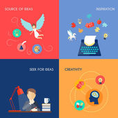 Muse design concept set with source of ideas inspiration creativity flat icons set isolated vector illustration