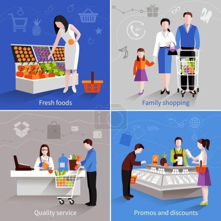 Illustration pour Les gens dans le concept de conception de supermarché ensemble avec des fruits frais famille shopping qualité service promos et réductions plat icônes isolé vecteur illustration - image libre de droit