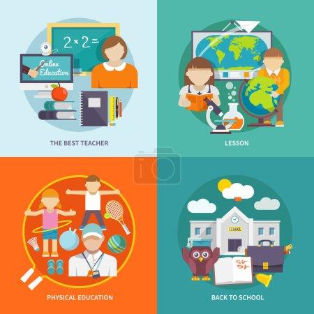 Illustration pour Concept de conception scolaire avec la meilleure leçon d'enseignant éducation physique icônes plates illustration vectorielle isolée - image libre de droit