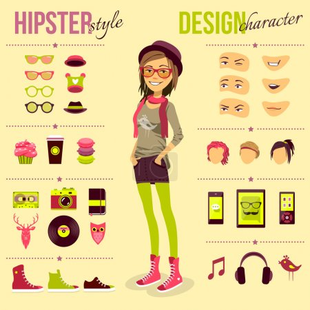 Illustration for Hipster girl set with fashion accessory customizable elements isolated vector illustration - Royalty Free Image