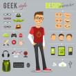 Geek style design character set with backpack comp...