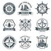Nautical label sea and ocean yacht journey black emblems set isolated vector illustration