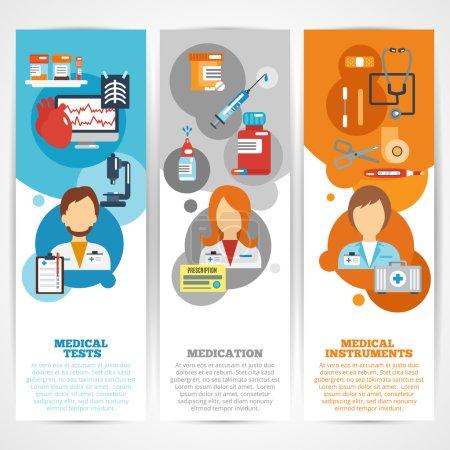 Illustration for Doctor banner vertical set with medical tests instruments medication elements isolated vector illustration - Royalty Free Image