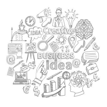 Illustration pour Creative business idea concept with sketch creativity decorative icons set vector illustration - image libre de droit