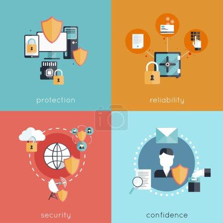 Illustration pour Concept de conception de sécurité de l'information avec protection fiabilité sécurité et confiance icônes plates illustration vectorielle isolée - image libre de droit