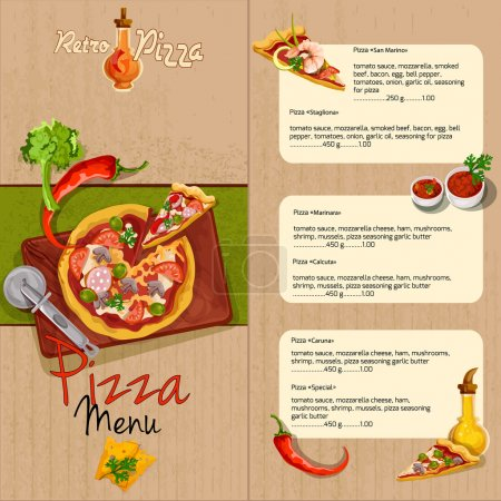 Illustration for Pizzeria pizza restaurant menu template with ingredients oil and seasoning vector illustration - Royalty Free Image
