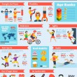 Sports infographics set with people training healt...