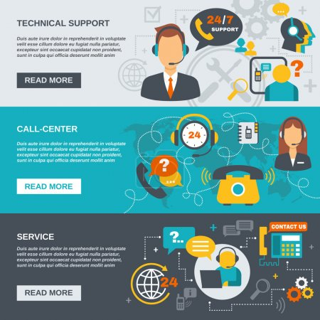 Illustration for Technical support call center and service flat banner set isolated vector illustration - Royalty Free Image