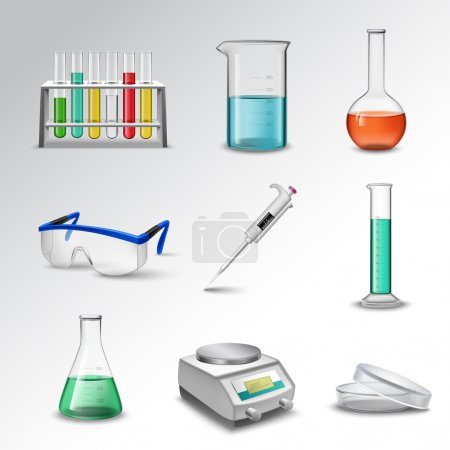 Illustration for Laboratory glass equipment realistic decorative icons set with flasks beakers and pipette isolated vector illustration - Royalty Free Image