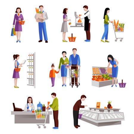 Illustration pour Les gens dans les supermarchés acheter des produits d'épicerie icônes décoratives ensemble illustration vectorielle isolée - image libre de droit