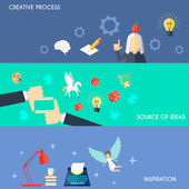 Muse flat horizontal banner set with creative process source of ideas inspiration elements isolated vector illustration