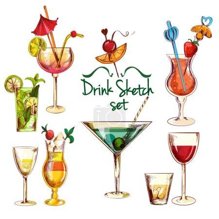 Illustration pour Croquis boissons alcoolisées cocktail set illustration vectorielle isolée - image libre de droit