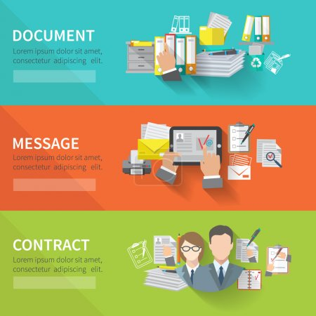 Illustration for Document flat horizontal banner set with message contract elements isolated vector illustration - Royalty Free Image