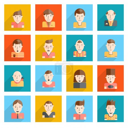 Illustration for Man faces emoticons icons flat set with sadness smiley happiness surprise expressions isolated vector illustration - Royalty Free Image