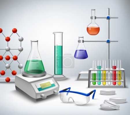 Illustration for Science chemical and medical research equipment in lab realistic background vector illustration - Royalty Free Image