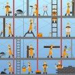 Construction process background with builders repa...