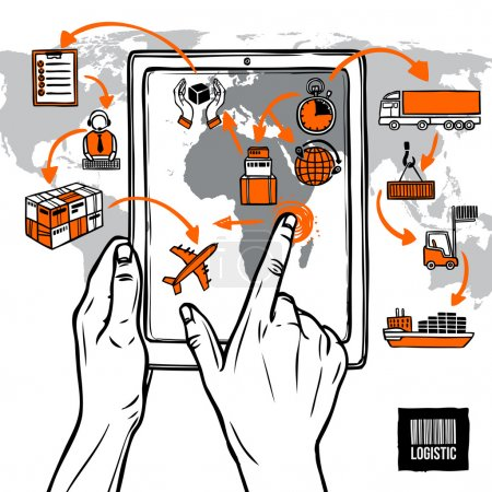 Illustration for Logistic sketch concept with hand holding digital tablet shipping icons and world map vector illustration - Royalty Free Image
