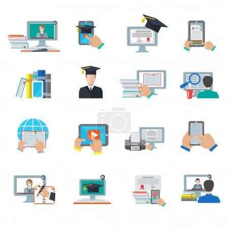 Photo pour Enseignement en ligne e-learning digital graduation flat icon set isolated vector illustration - image libre de droit