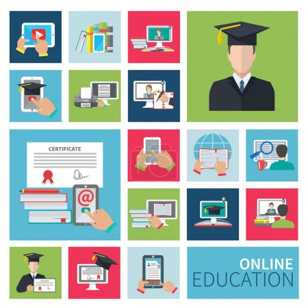 Illustration for Online school and university distance education flat icons set isolated vector illustration - Royalty Free Image