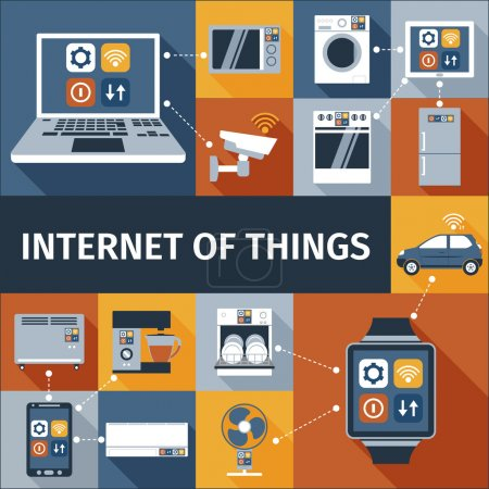 Illustration for Internet of things computer and smart watch  remote control flat icons composition poster abstract isolated vector illustration - Royalty Free Image