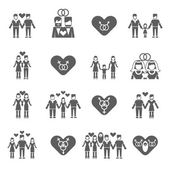 Nontraditional married same sex couples love relationship and child parenting black icons set abstract isolated vector illustrations