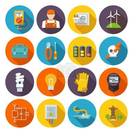 Illustration pour Icône d'électricité ensemble plat avec boîte à outils de test d'équipement d'énergie électrique illustration vectorielle isolée - image libre de droit