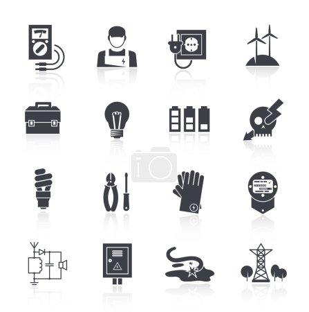 Illustration pour Icône électrique ensemble noir avec boîte à outils lampe signe d'avertissement de charge illustration vectorielle isolée - image libre de droit
