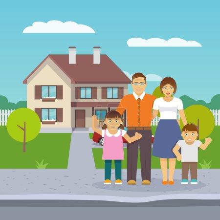 Illustration pour Famille heureuse avec parents et enfants garçons et filles devant la maison illustration vectorielle plat - image libre de droit