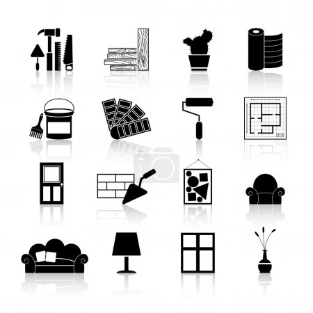 Illustration for Interior design and art decoration and room indoors improvement icons black set isolated vector illustration - Royalty Free Image