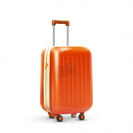 Orange travel plastic suitcase with wheels realist...