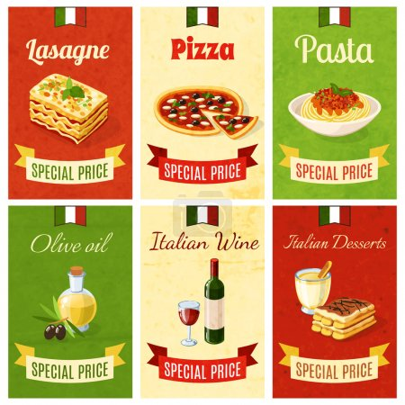 Italian food mini poster set wtih lasagne pizza pa...
