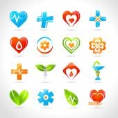Medical pharmacy and healthcare logo designs icons set isolated vector illustration