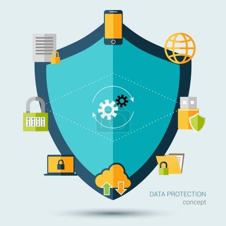 Illustration pour Concept de protection des données avec écran et symboles de sécurité de l'information illustration vectorielle - image libre de droit