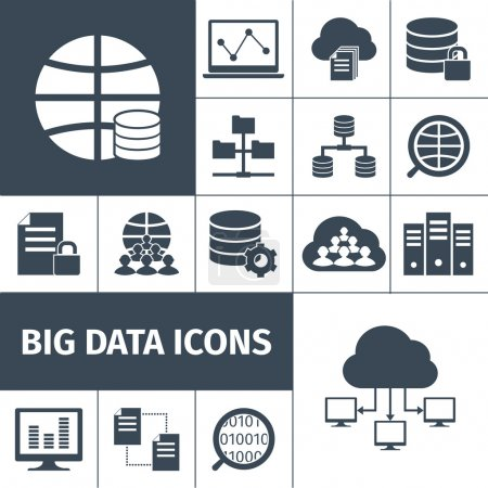 Big data icons black