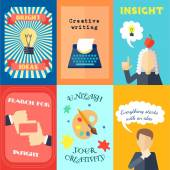 Muse bright ideas creative writing and insights mini poster set isolated vector illustration