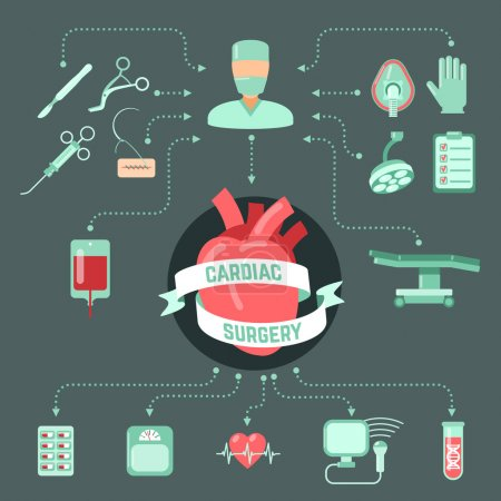 Illustration for Cardiac surgery design concept with human heart and operation icons decorative vector illustration - Royalty Free Image