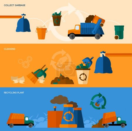 Illustration for Garbage collect cleaning and recycling plant horizontal banner set isolated vector illustration - Royalty Free Image