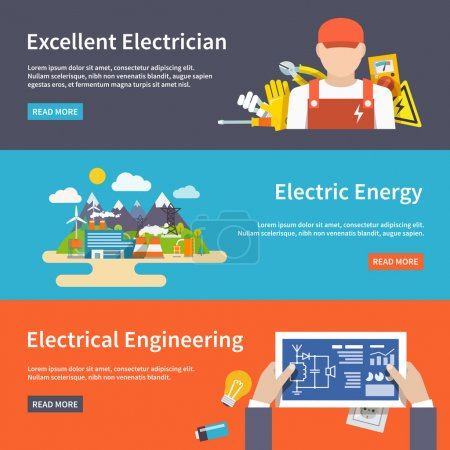 Illustration for Electricity flat horizontal banner set with electrician energy engeneering elements isolated vector illustration - Royalty Free Image