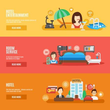 Illustration for Hotel room service horizontal banner flat set isolated vector illustration - Royalty Free Image