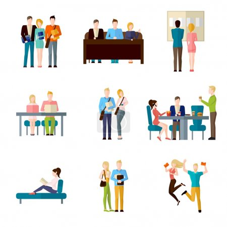 Illustration for Student life set with classroom learning coffee break homework writing isolated vector illustration - Royalty Free Image