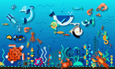 Tropic lagoon underwater world life concept with bright exotic sea fishes vector illustration