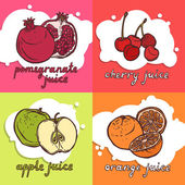 Fruit juice design concept set with pomegranate cherry apple orange sketch icons isolated vector illustration