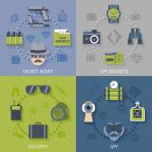 Intelligence secret agent security gadgets 4 flat icons composition with spy sunglasses camera abstract isolated vector illustration