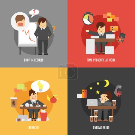 Illustration for Deadline stress at work 4 flat icons composition of results drop burnout and overworking abstract vector illustration - Royalty Free Image