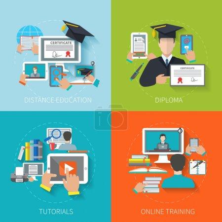 Illustration pour Concept de conception d'éducation en ligne avec des tutoriels de diplôme à distance formation des icônes plates illustration vectorielle isolée - image libre de droit