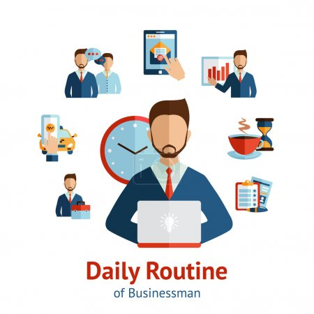 Businessman daily routine concept poster